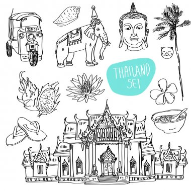Illustration of vector set of Thailand with temple, buddha, elephant, traditional food and flower isolated