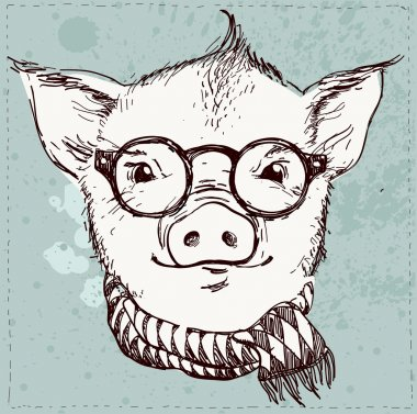 Vector illustration of hipster pig in glasses and scarf ,vintage textured background