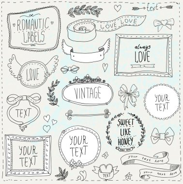 Vintage label set, Hand-drawn doodles and design elements