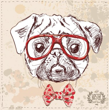 Hipster pug dog with glasses and suit