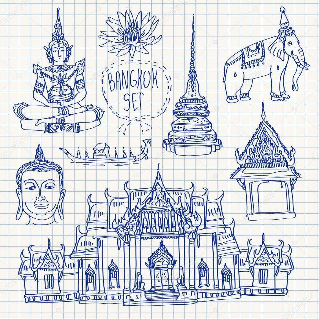 Illustration of vector set of Bangkok (Thailand) with temple, buddha, elephant and lotus isolated on squared paper
