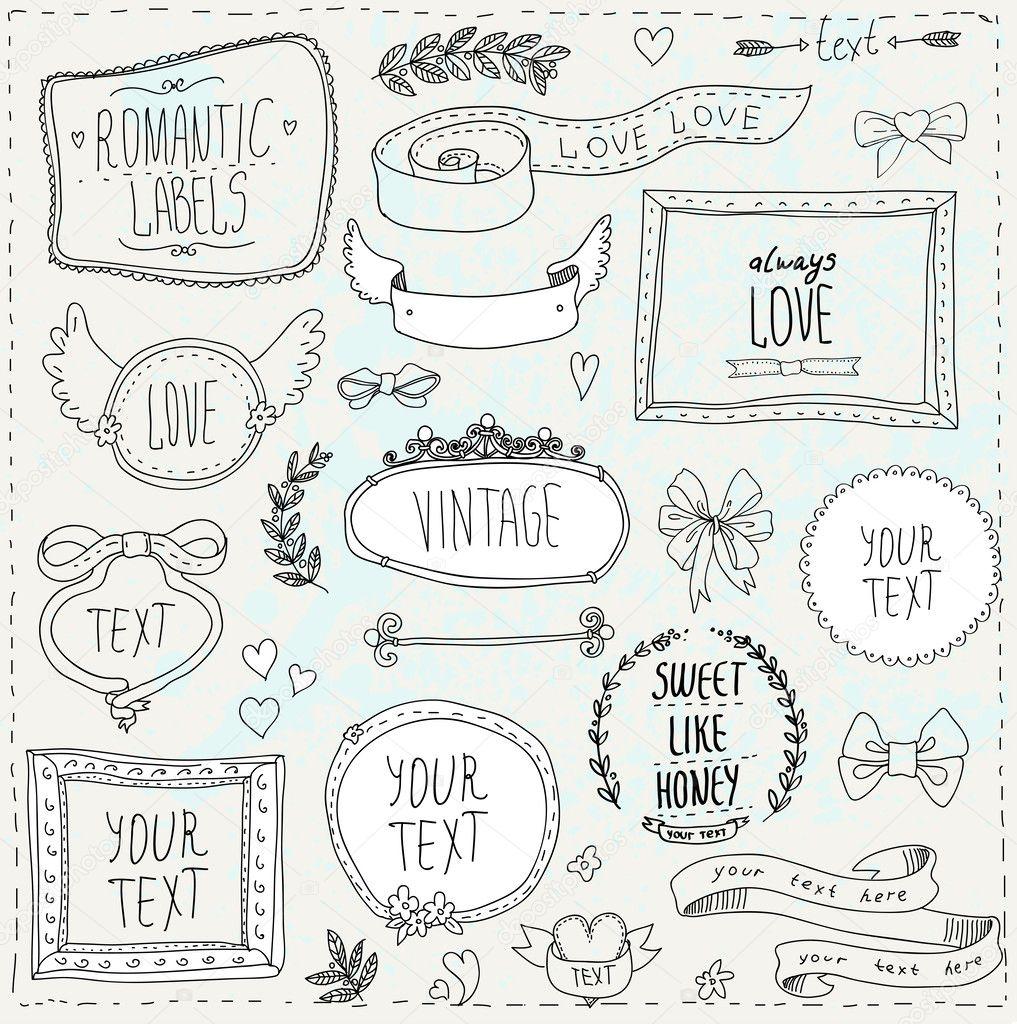 Vintage label set, Hand-drawn doodles and design elements