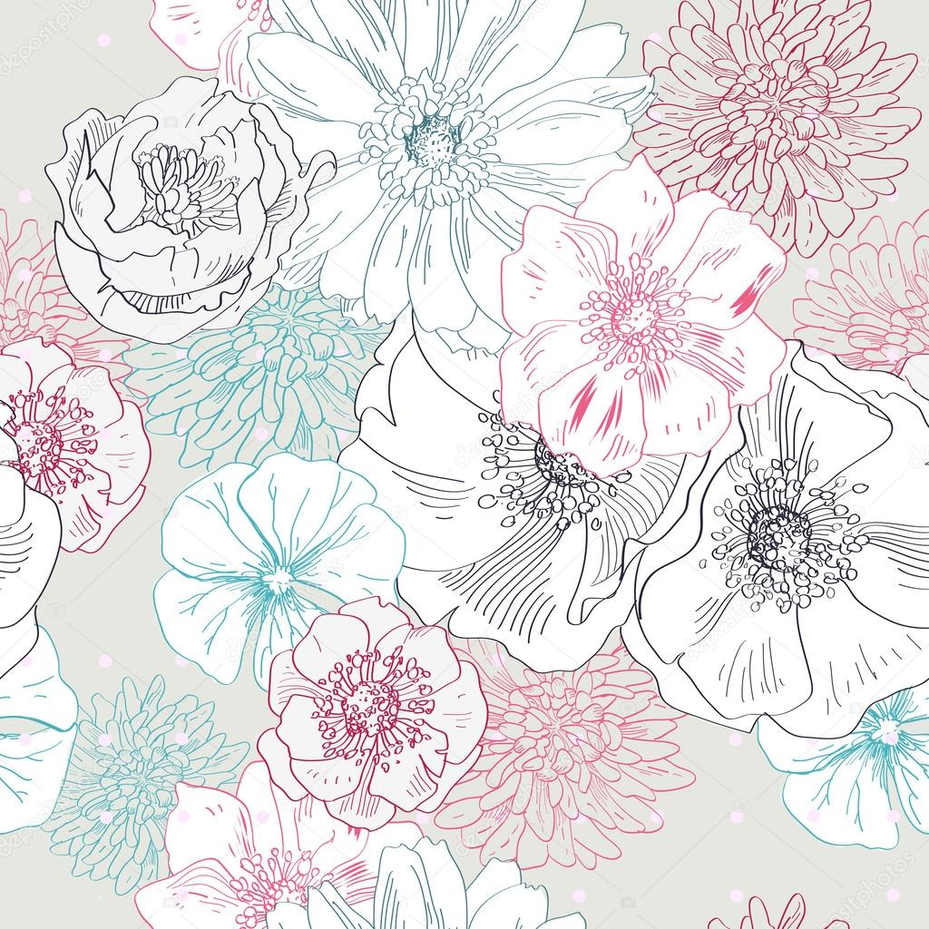 seamless floral pattern hand draw realistic flower u2014 stock vector
