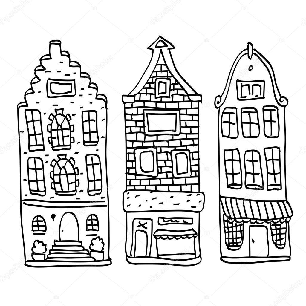 Oude holland huizen set stockvector iriskana 36833083 - Gevels van hedendaagse huizen ...