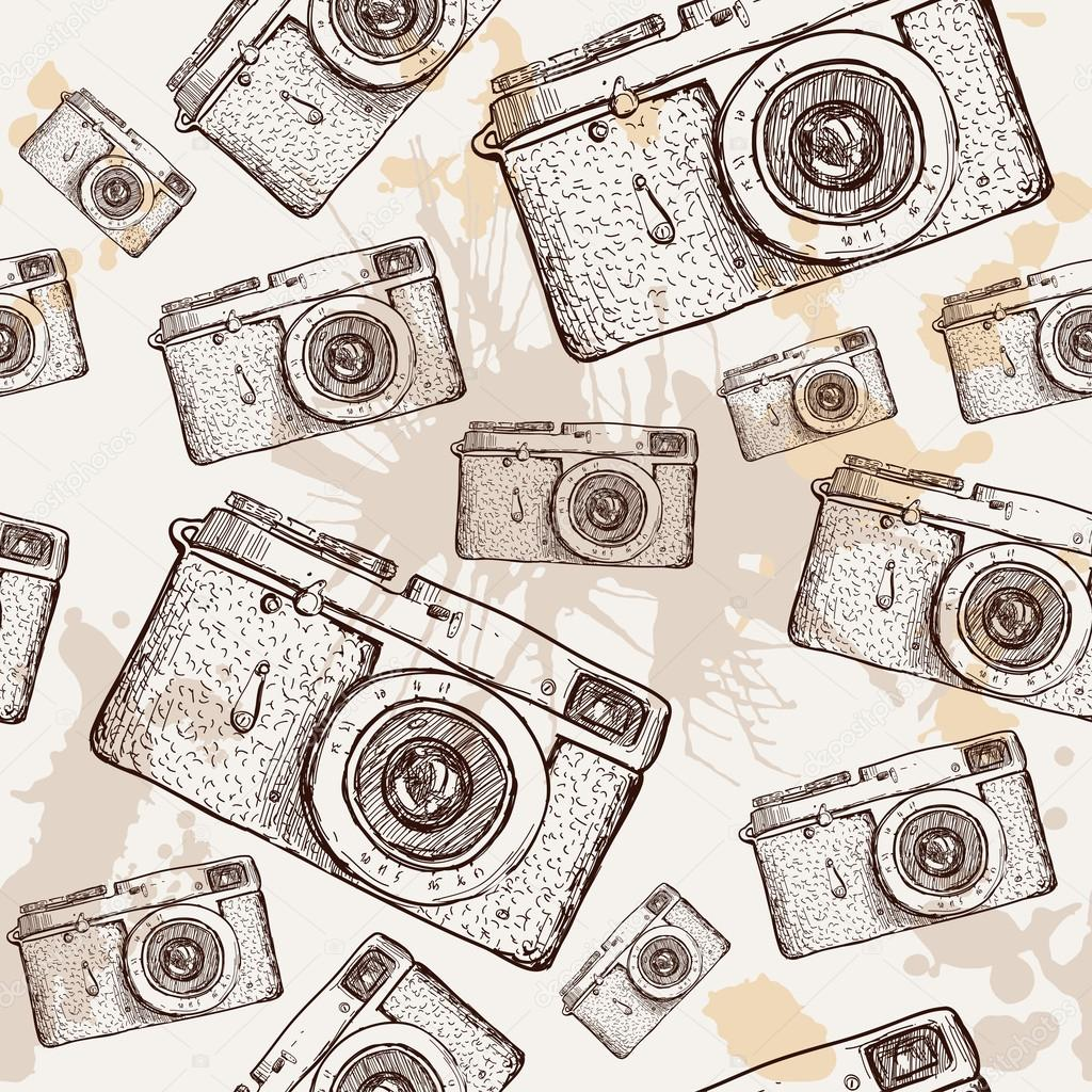 Camera Seamless Pattern Vector Illustration Hand Drawn On Vintage Textured Background Realistic Image Of Photo By Iriskana
