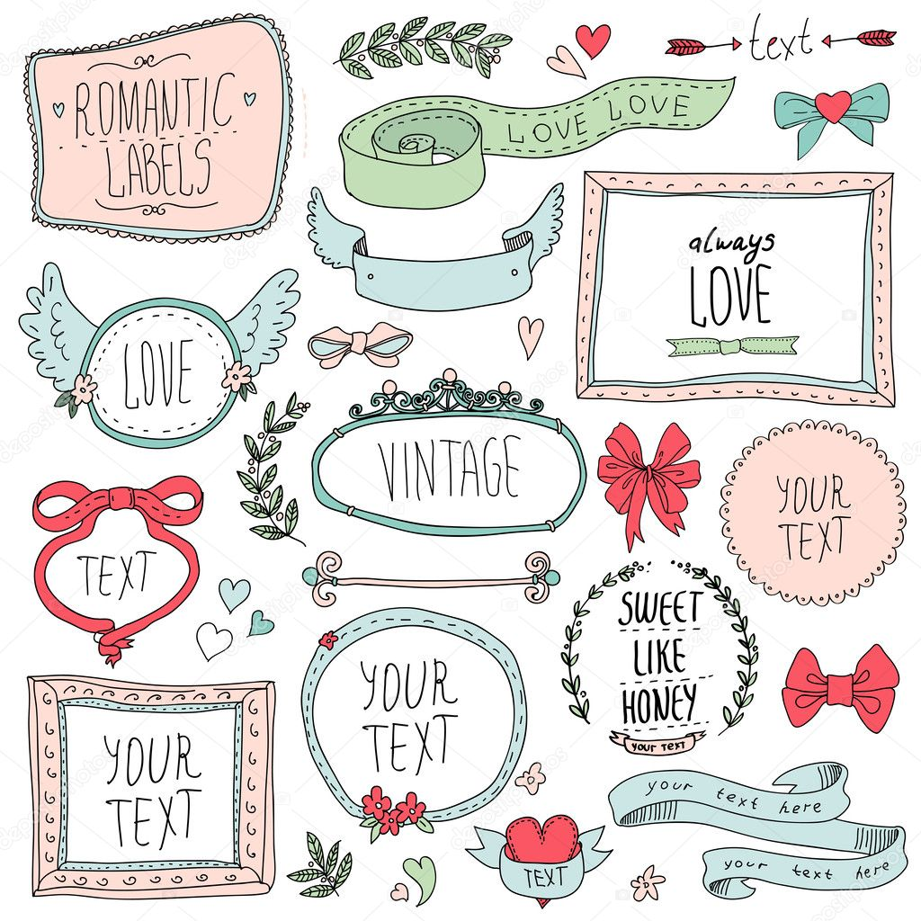 Romantic set of labels and ribbons