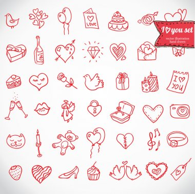 I love you doodle icon set isolated, vector illustration hand drawn clip art vector