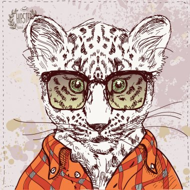 Vector hipster leopard with glasses and suit in vector on vintage textured paper background, hand drawn sketchy illustration