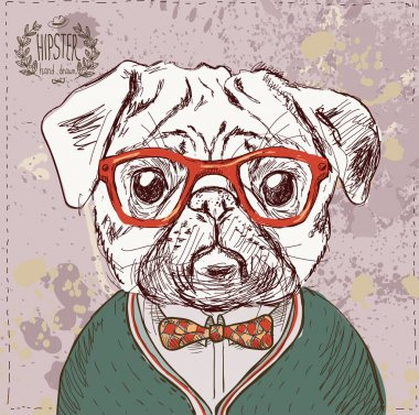 Vintage illustration of hipster pug dog with glasses and bow in vector on vintage background clip art vector