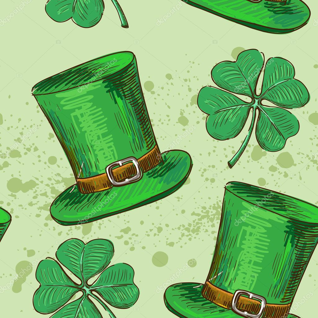 Seamless pattern four leaf clover, luck, or St. Patrick's Day