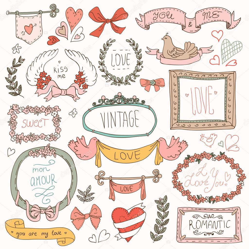 Vintage label set, Hand-drawn doodles and design elements,