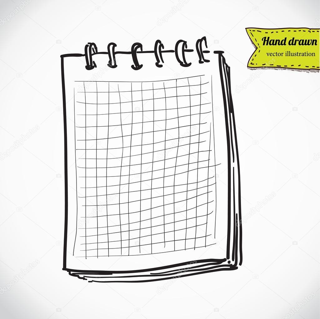 ノートブックのスケッチ手でベクトル イラスト ノートの葉を描画します