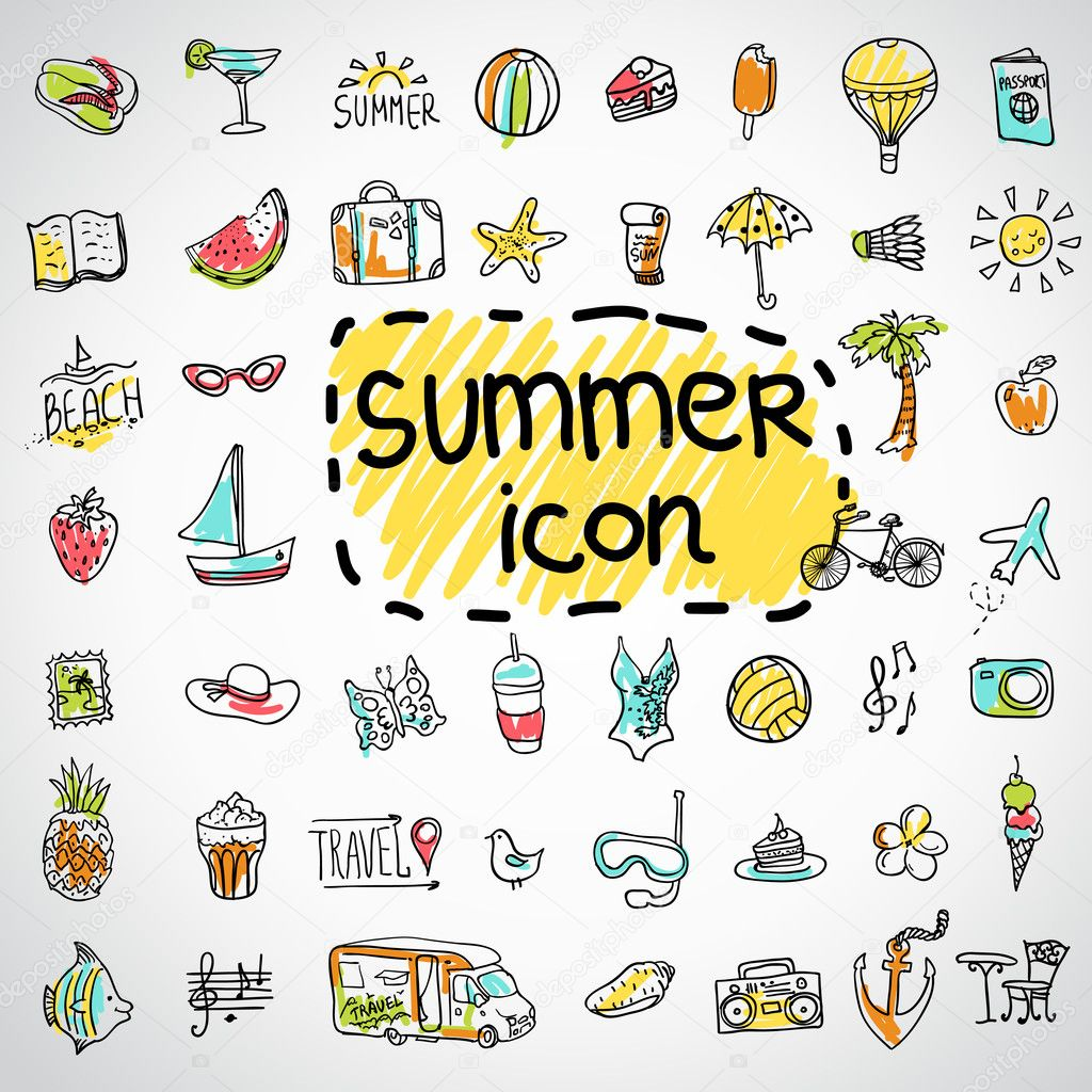 Set of  vector doodle summer icons