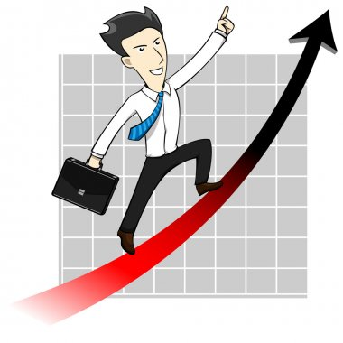 Businessman Man Chart Uptrend Arrow Cartoon