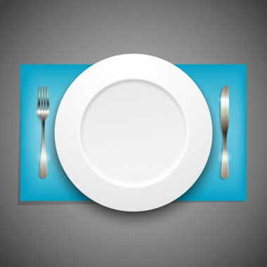 Illustration with plate and silverware stock vector
