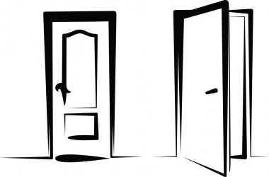 Simple illustration of closed and open door