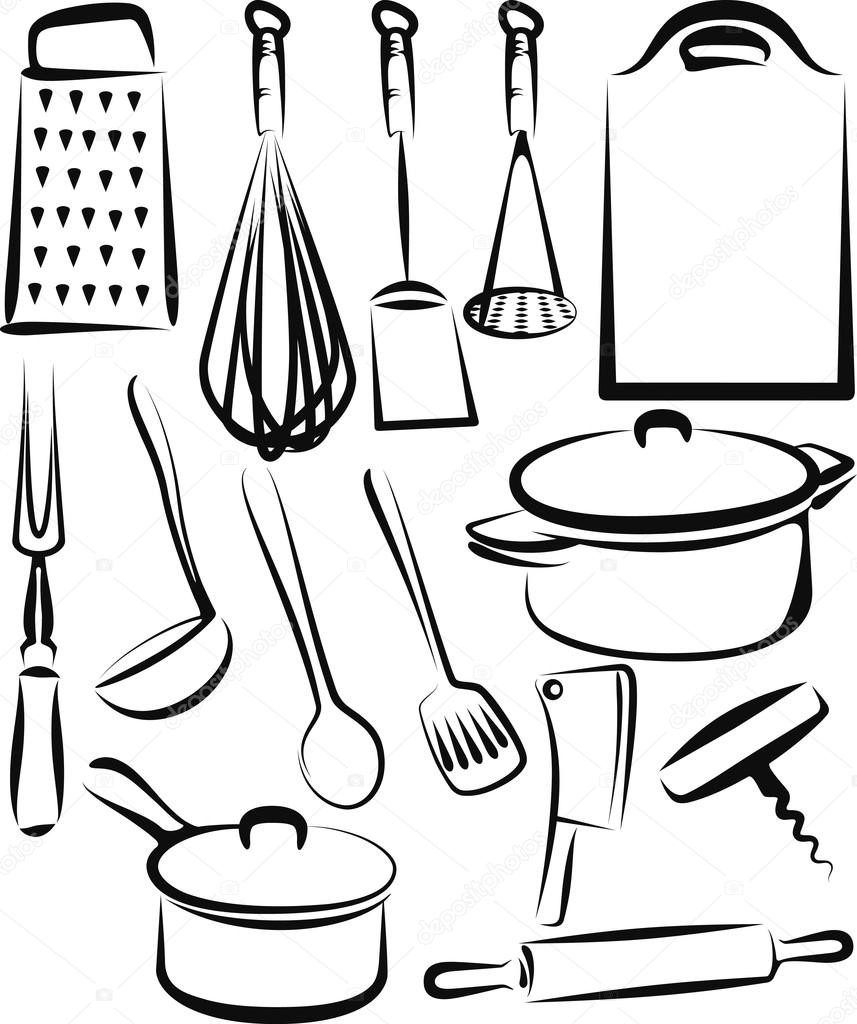 Ilustraci n con un conjunto de utensilios de cocina for Utensilios de menaje