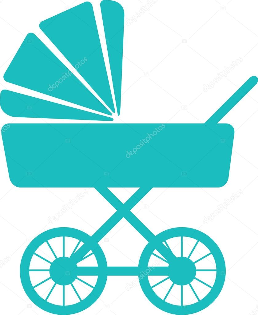 Simple icon of baby pram
