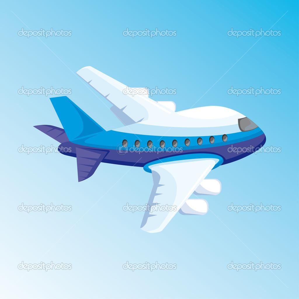 Illustrazione di cartone animato con aeroplano u2014 foto stock
