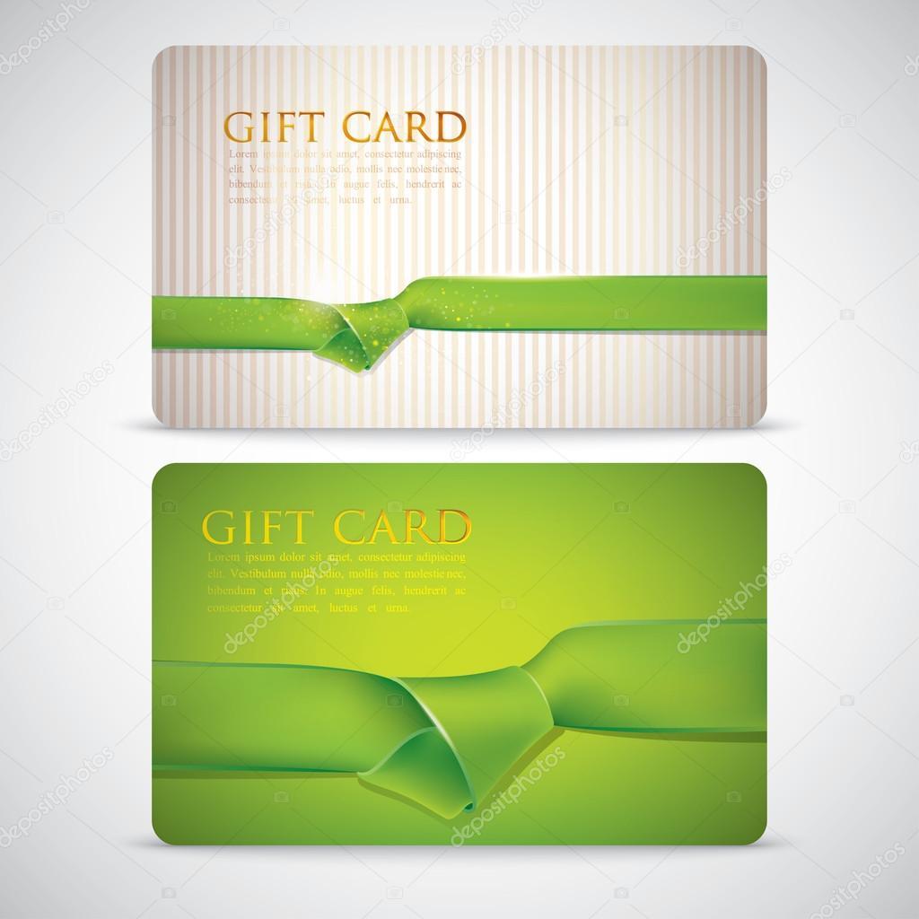 tarjetas de regalo con unas cintas verdes — Archivo Imágenes ...