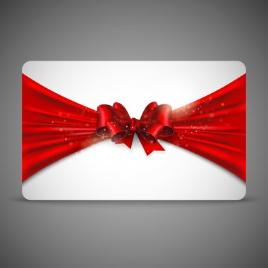Gift card with red bow clip art vector