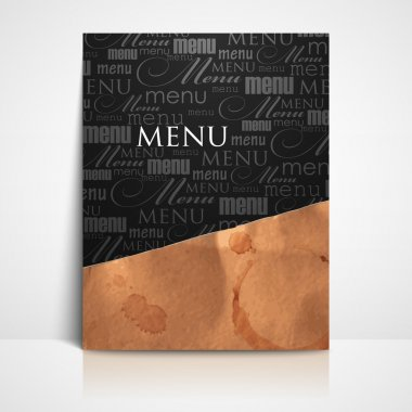 Restaurant menu design with grunge cardboard texture