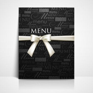 Restaurant menu design with white bow and ribbon