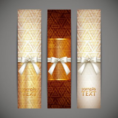 Set of golden banners with white bows and ribbons