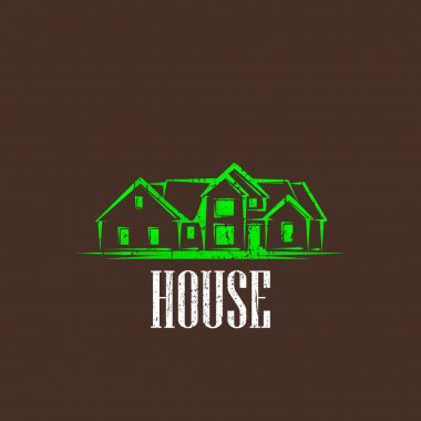 Vintage illustration with a house. real estate sign