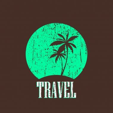 Vintage illustration with tropical island