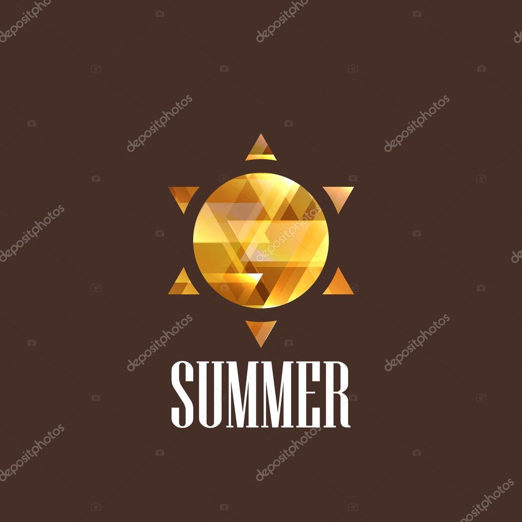 Illustration with diamond sun icon