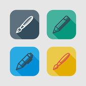 rajz és írás eszközök csoportja. lapos ikonok hosszú árnyékok