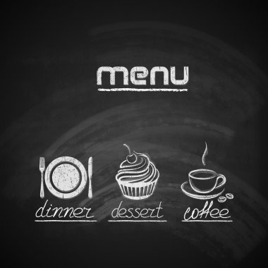 Menu design with plate, fork and knife, cupcake and coffee cup