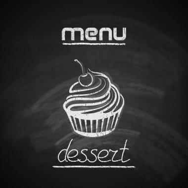 chalkboard menu design with a cupcake