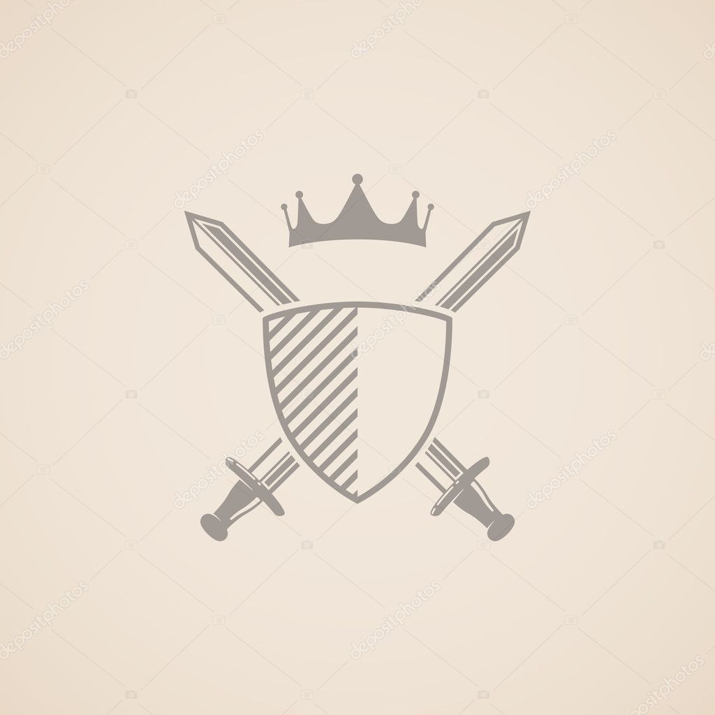 Illustration with shield, swords and crown.