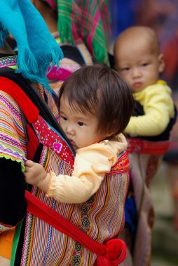 BAC HA,VIETNAM - SEP 11:Unidentified children of the flower H'mong indigenous women were carried by mom at market on September 11, 2010 in Bac ha, Vietnam.