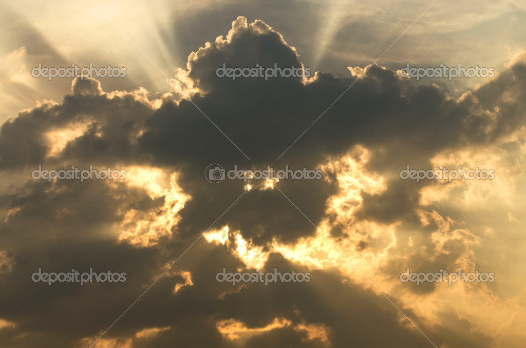 light and cloud when sunset on sky