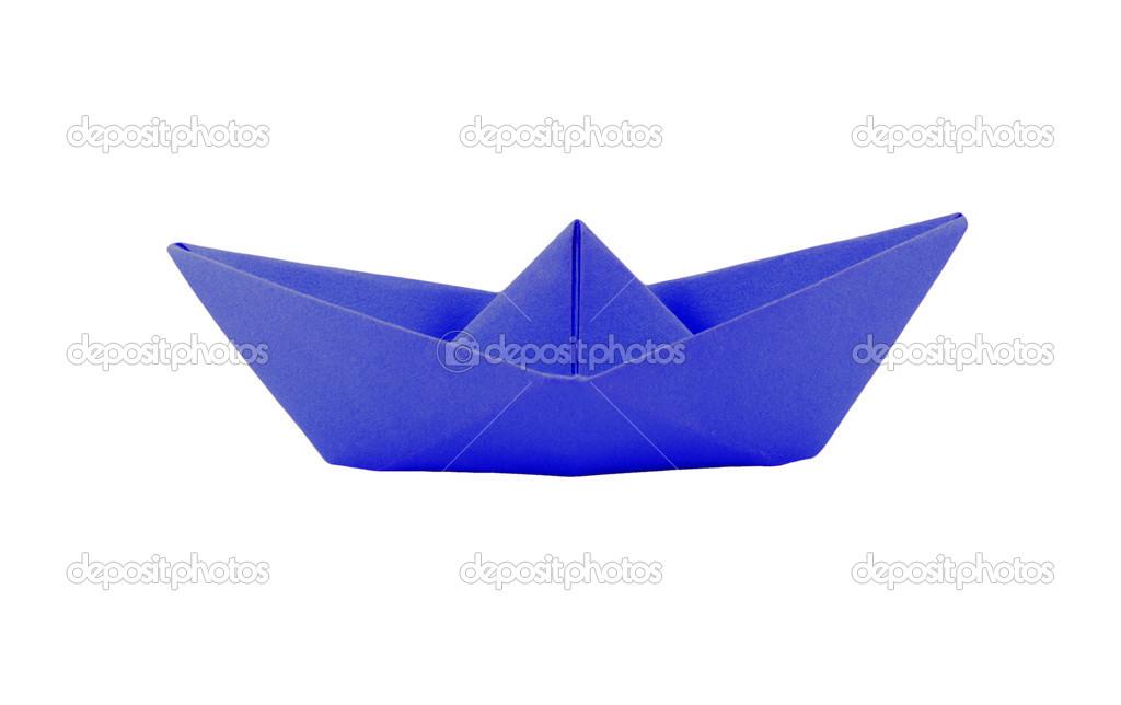Bateau En Papier Origami Bleu Sur Fond Blanc U2014 Image De Tzido