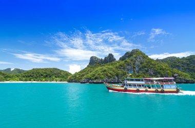 KOH SAMUI, THAILAND - JUNE 30 : undefined big boat of traveler s