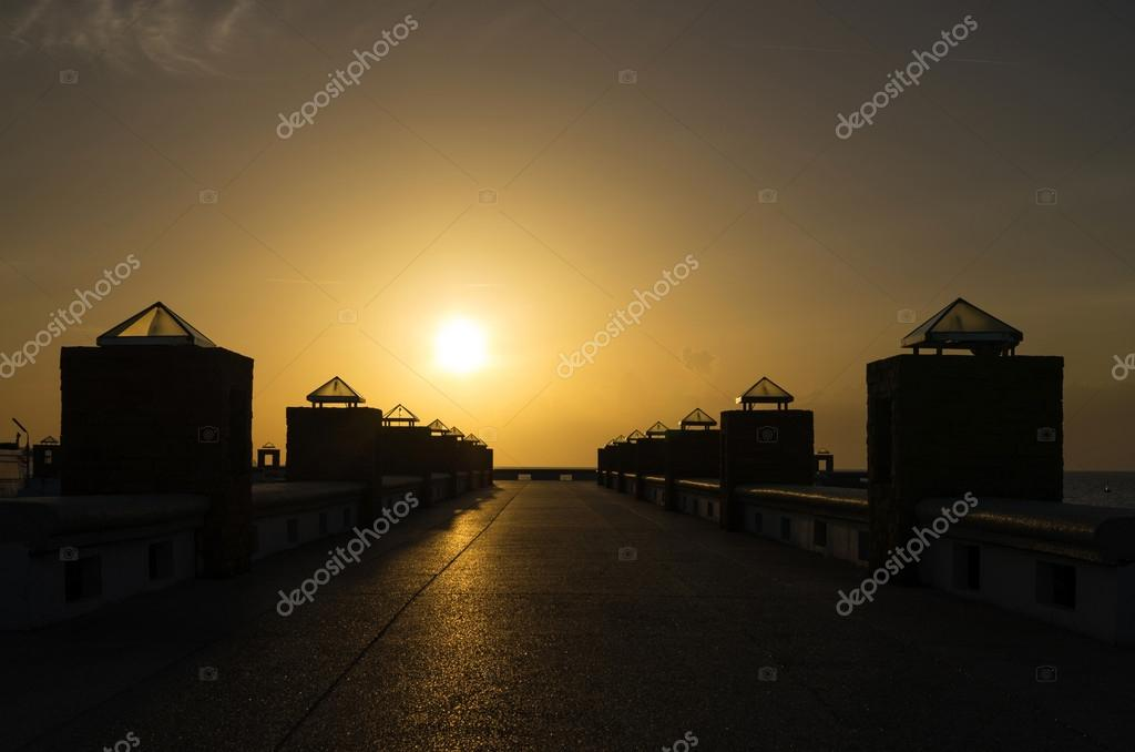 Sunset on ship port, background
