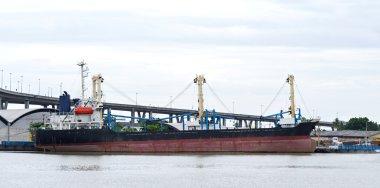 Cargo ship in river,bangkok, thailand