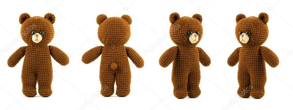 Handmade crochet brown bear doll on white background, four side