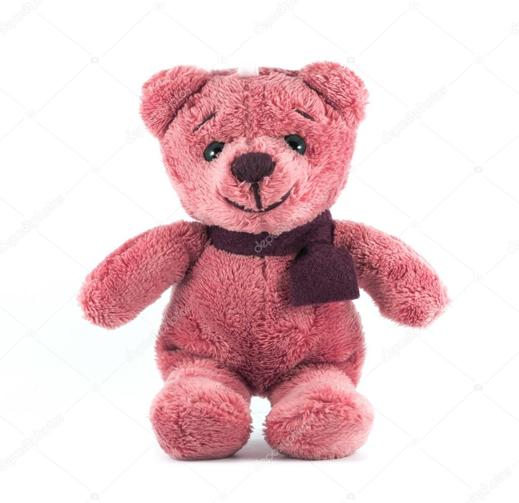 Hand made TEDDY BEAR red color with scarf on white background