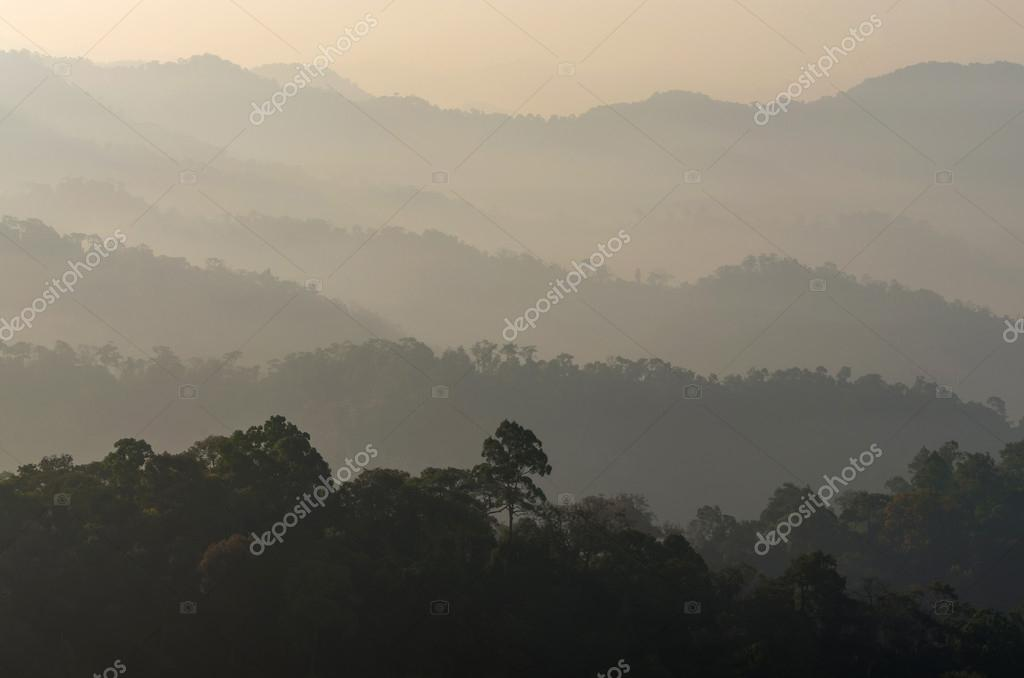 mountain with fog landscape on morning at panerntung with worm w