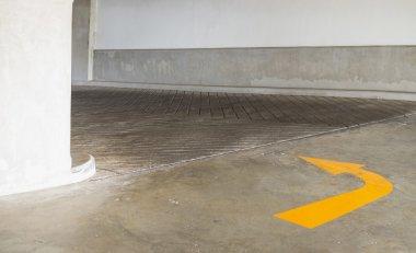 car park with turn arrow