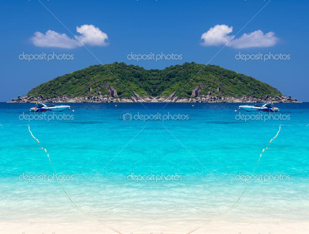 Sunshine tropical Scene Beach from Tachai island, Thailand