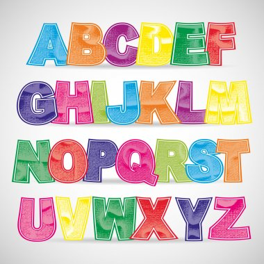 Colorful scratched vector font