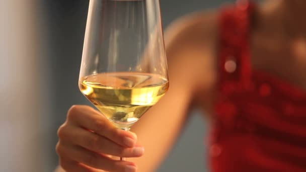 Žena se sklenkou vína v ruce