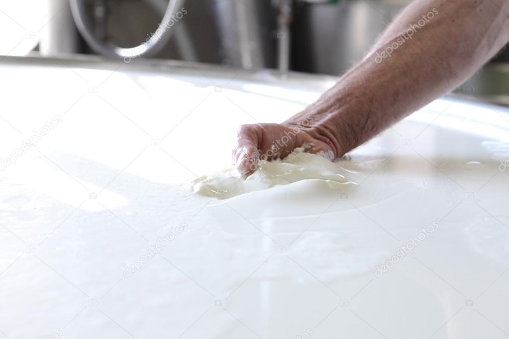 hands that prepare the cheese dairy