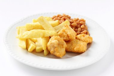 Chicken nuggets and baked beans